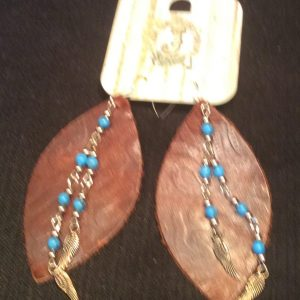 Jewelry Junkie Earrings Leather Brown and Turq