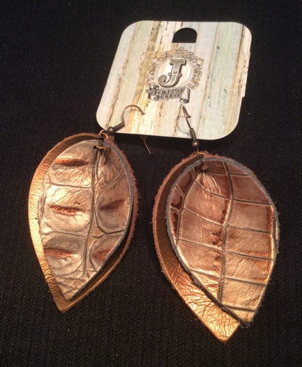 Jewelry Junkie Earrings Leather Bronze and Bronze